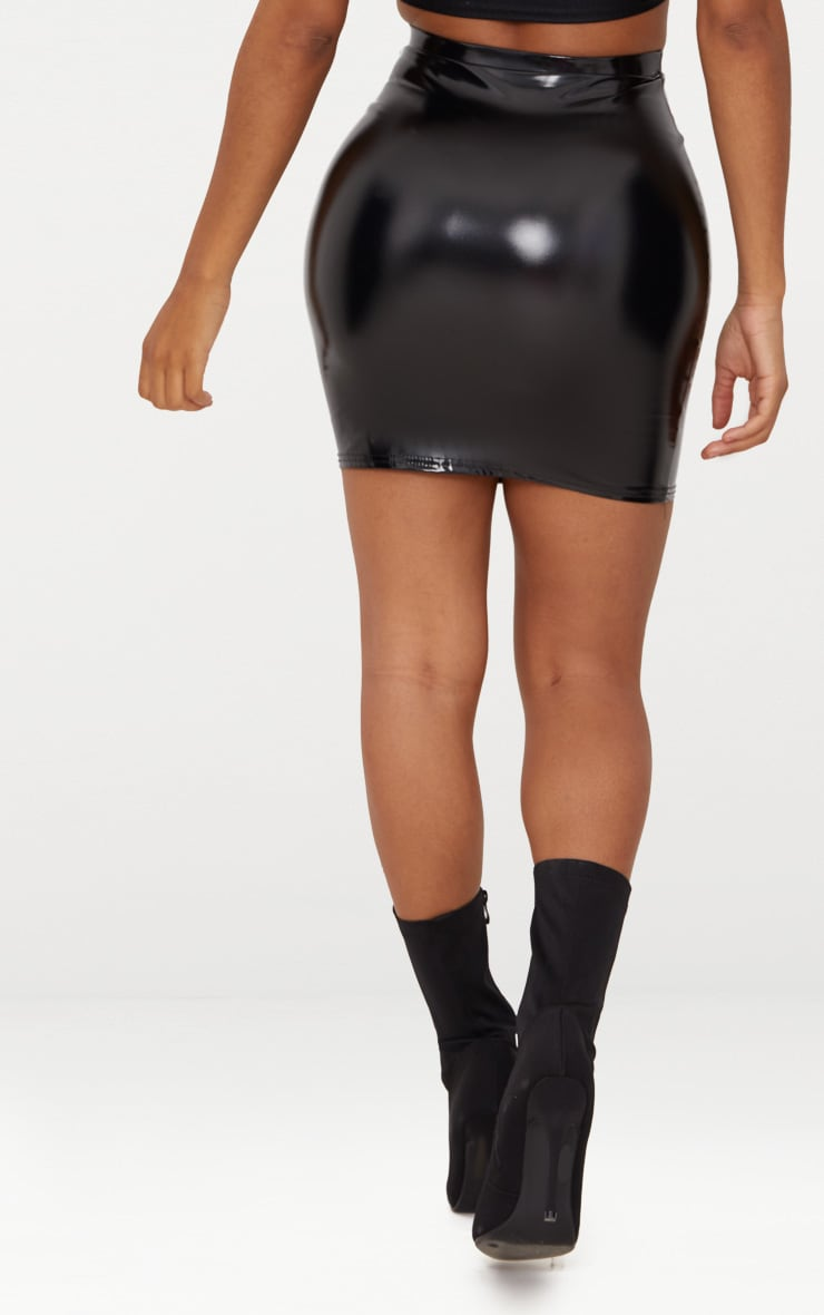 Shape Black Vinyl Bodycon Skirt 4