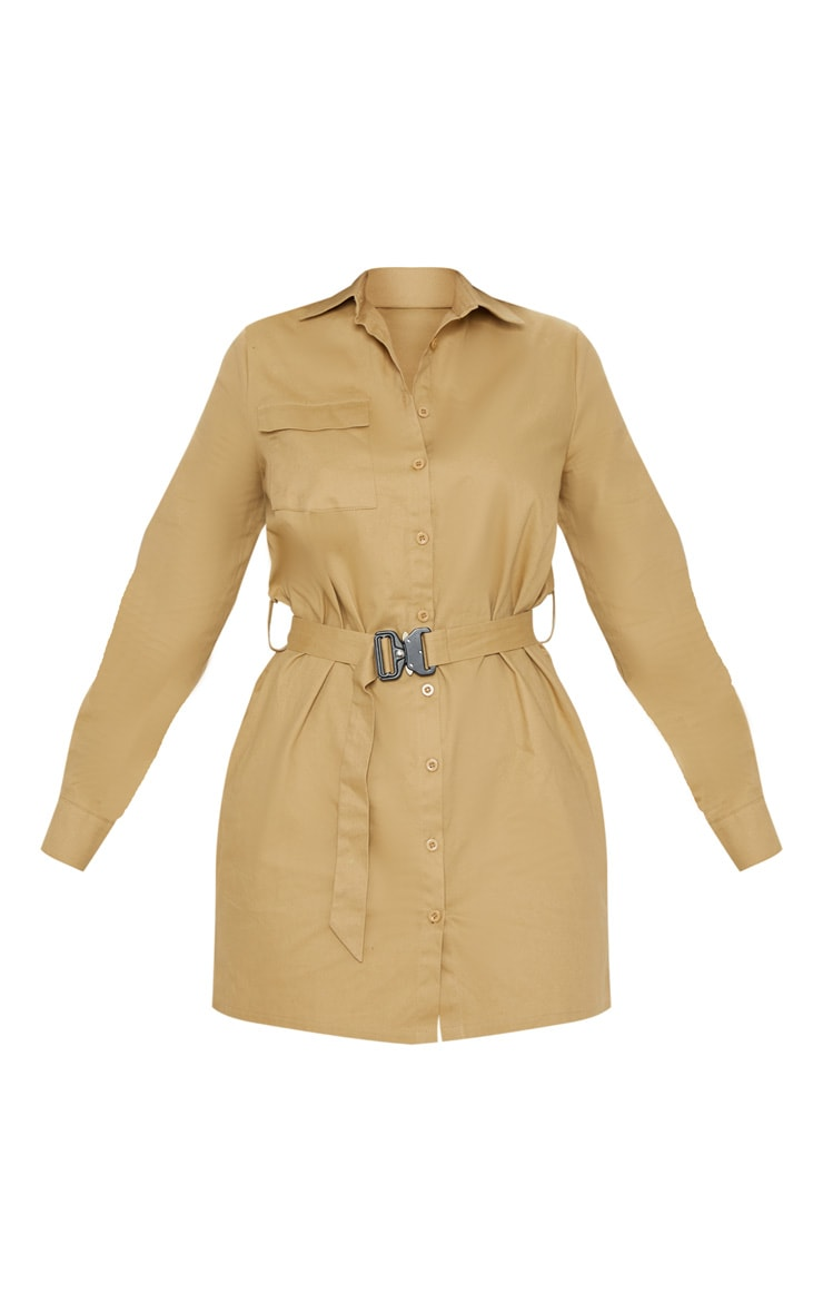 Camel Clasp Detail Buckle Cargo Shirt Dress 3