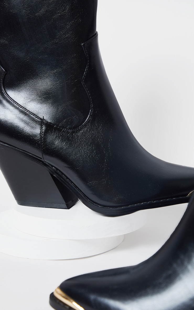 Black PU Metal Toe Ankle Western Boots 4