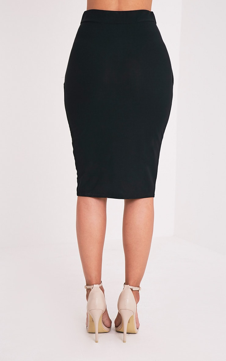 Aislynn Black Wrap Midi Skirt 5