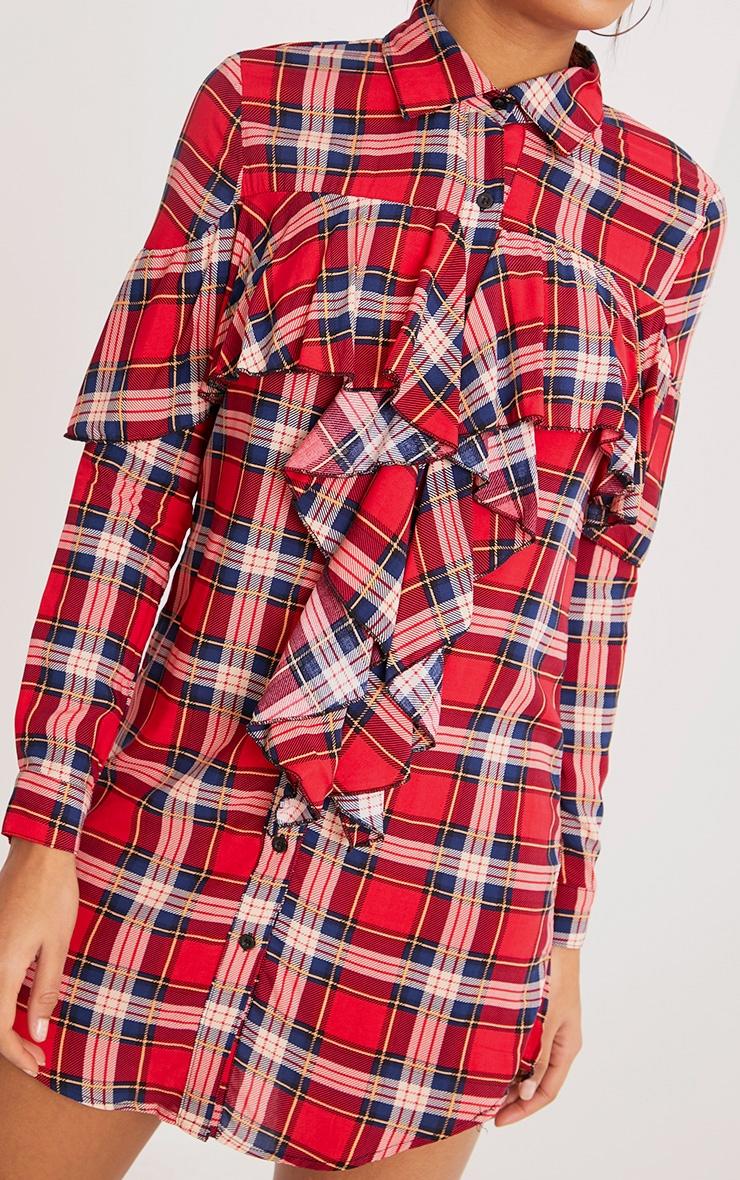 Ritah Red Checked Shirt Dress 5