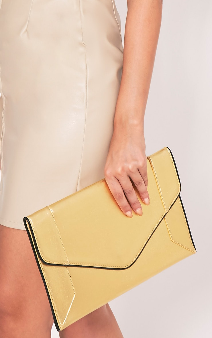 Wilona Gold Metallic Envelope Clutch 4