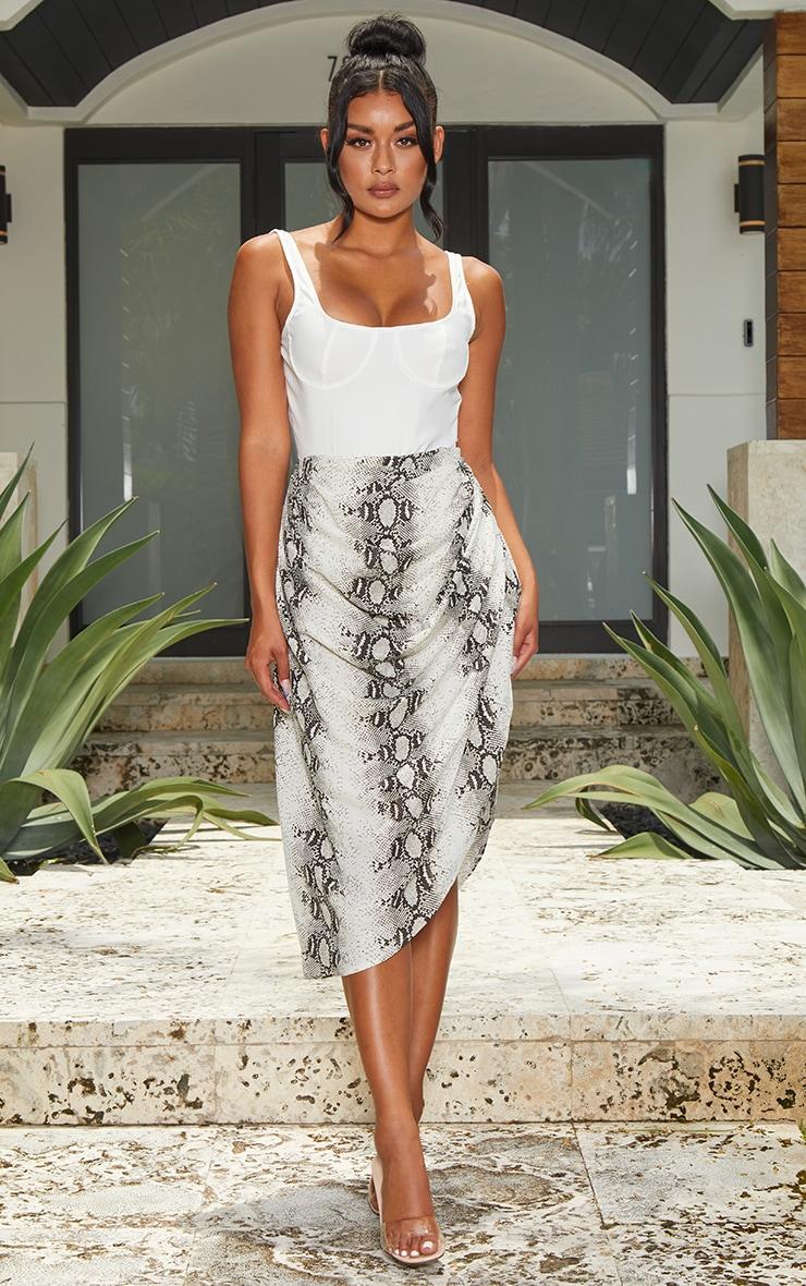 Grey Snake Ruched Side Midi Skirt 1