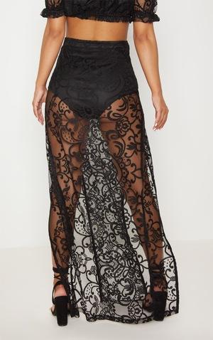 513ea6557134 Petite Black Lace Split Maxi Skirt | Petite | PrettyLittleThing