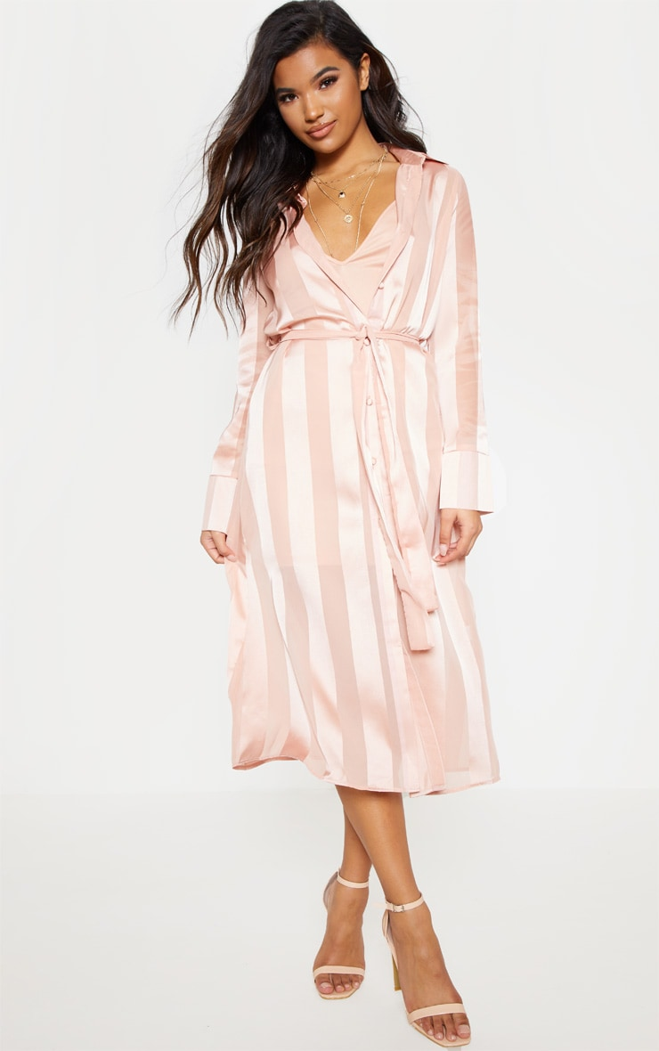 Champagne Satin Stripe Midi Shirt Dress