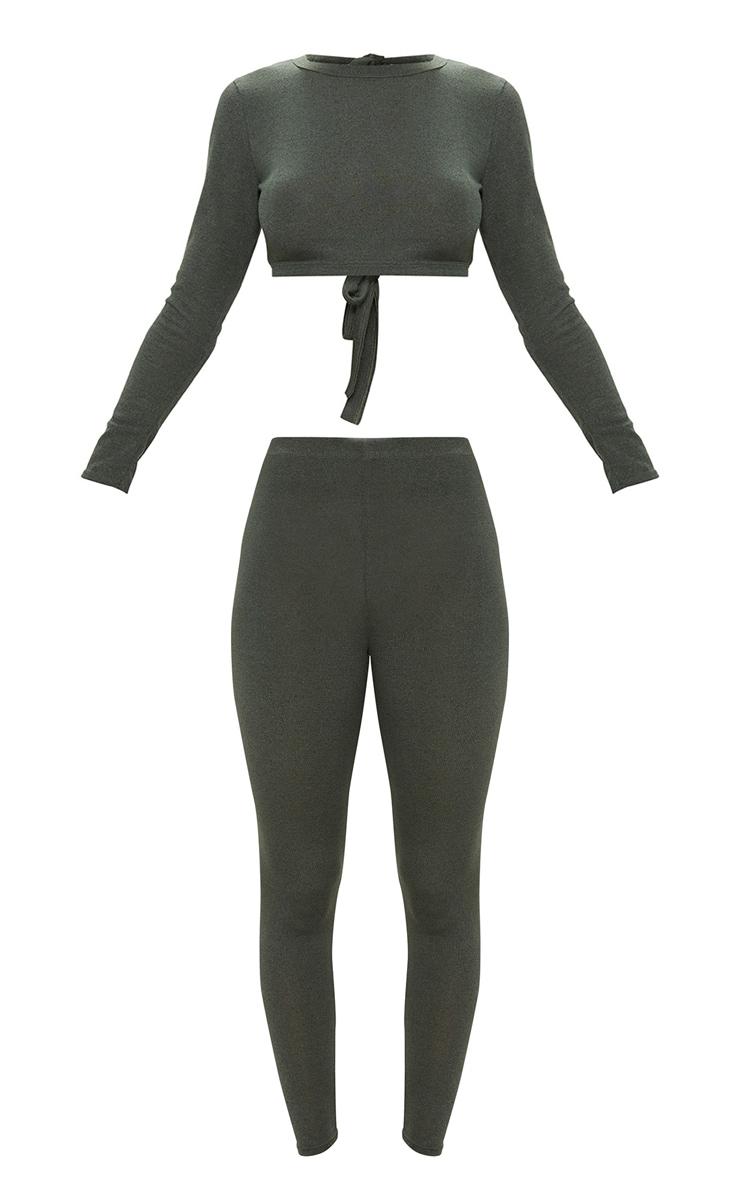 Khaki Bow Back Knitted Co Ord Set 3