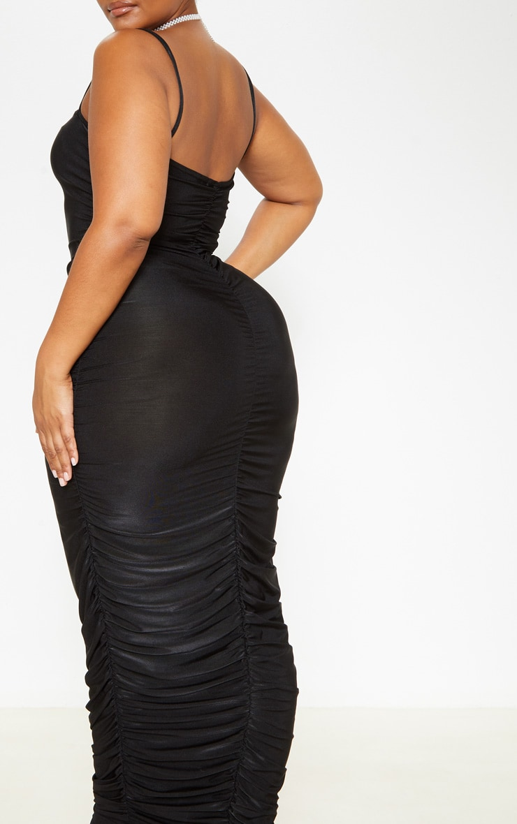 Plus Black Strappy Slinky Ruched Back Maxi Dress 5