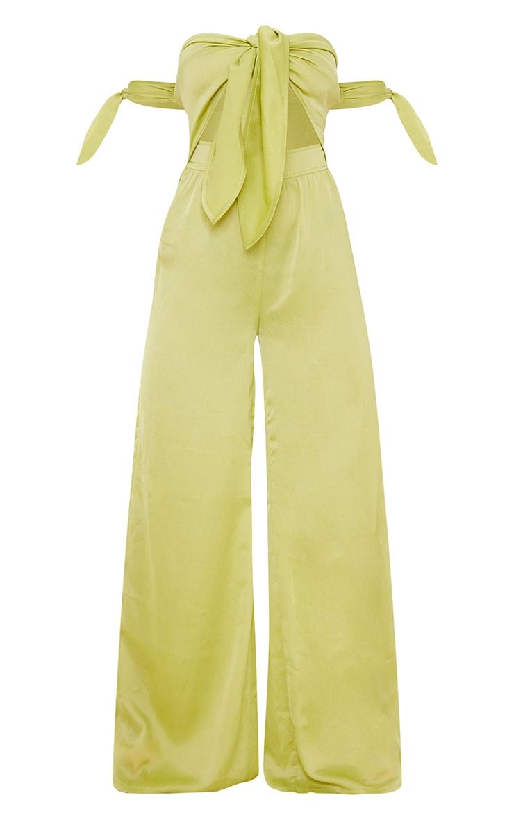 Lime Tie Bust Tie Sleeve Satin Jumpsuit 5