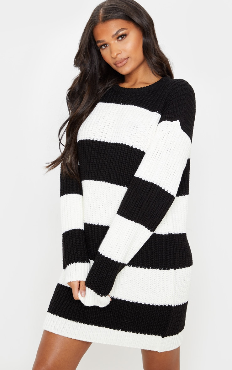 Monochrome Stripe Sweater Dress 5