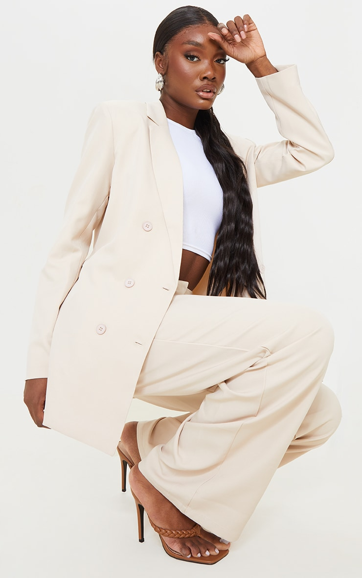 Tall Stone Shoulder Pad Oversized Double Breasted Blazer 3
