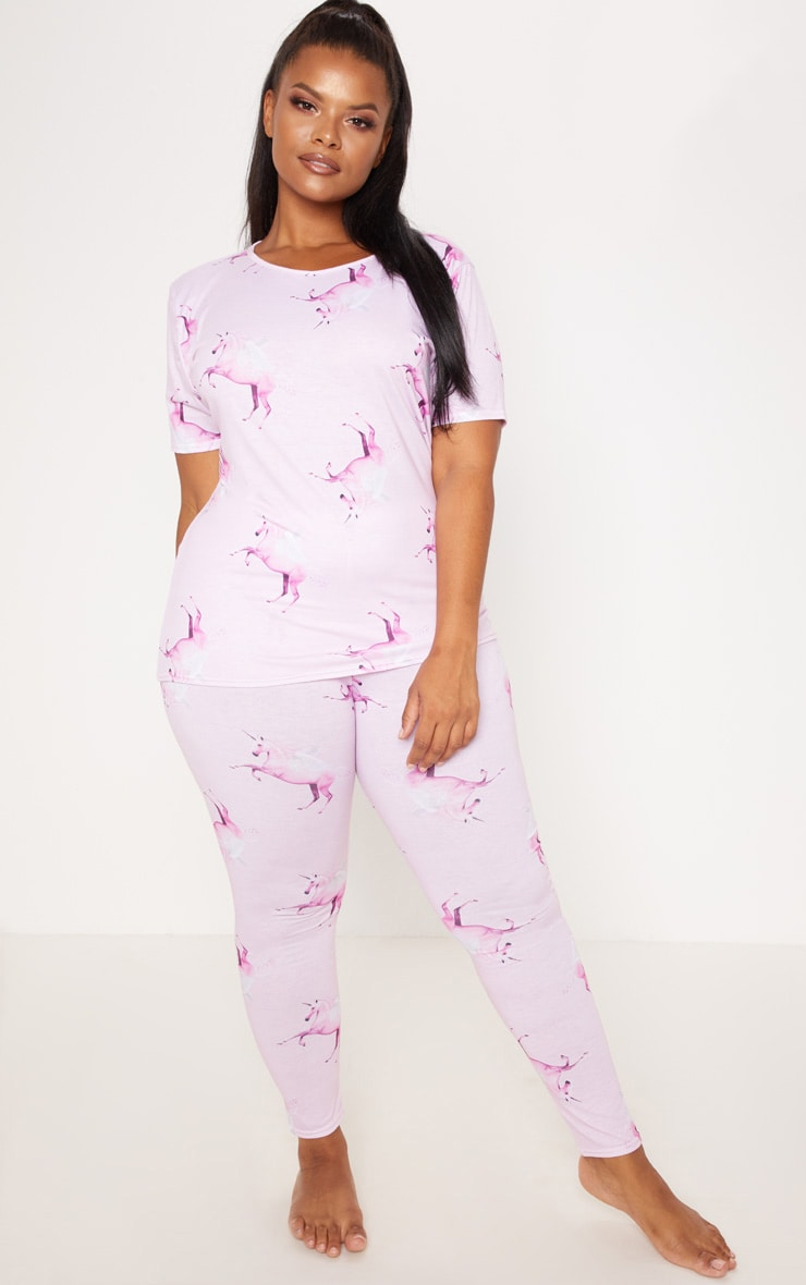 PRETTYLITTLETHING Unicorn Plus Pink Print Long PJ Set 1