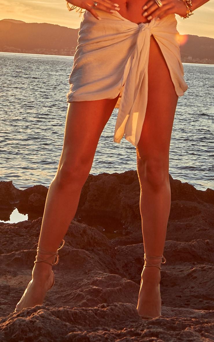 White Linen Look Wrap Mini Skirt 2