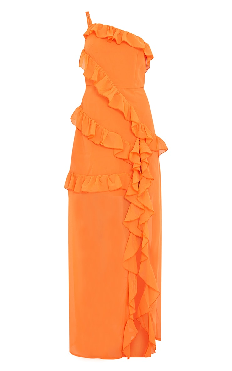 Bright Orange One Shoulder Frill Split Maxi Dress 5