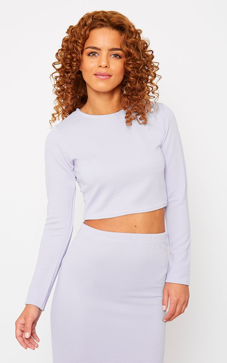Britney Lilac Ribbed Crop Top 1