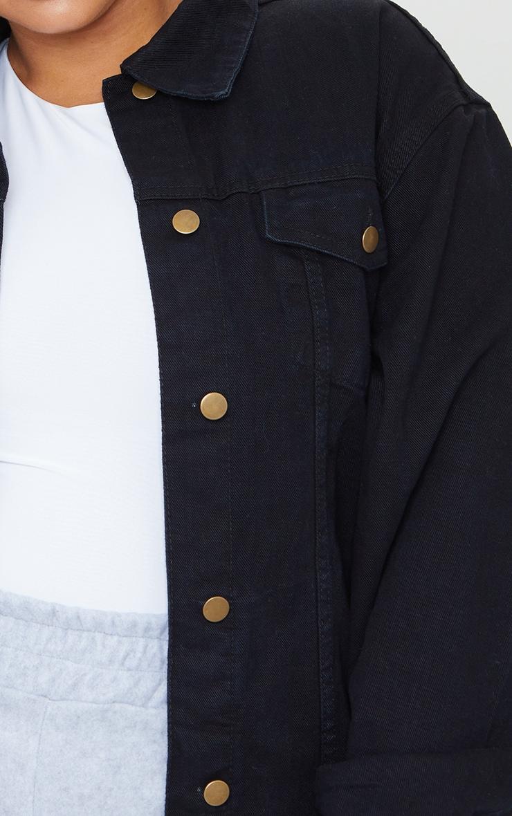 Plus Black Oversized Boyfriend Denim Jacket 4