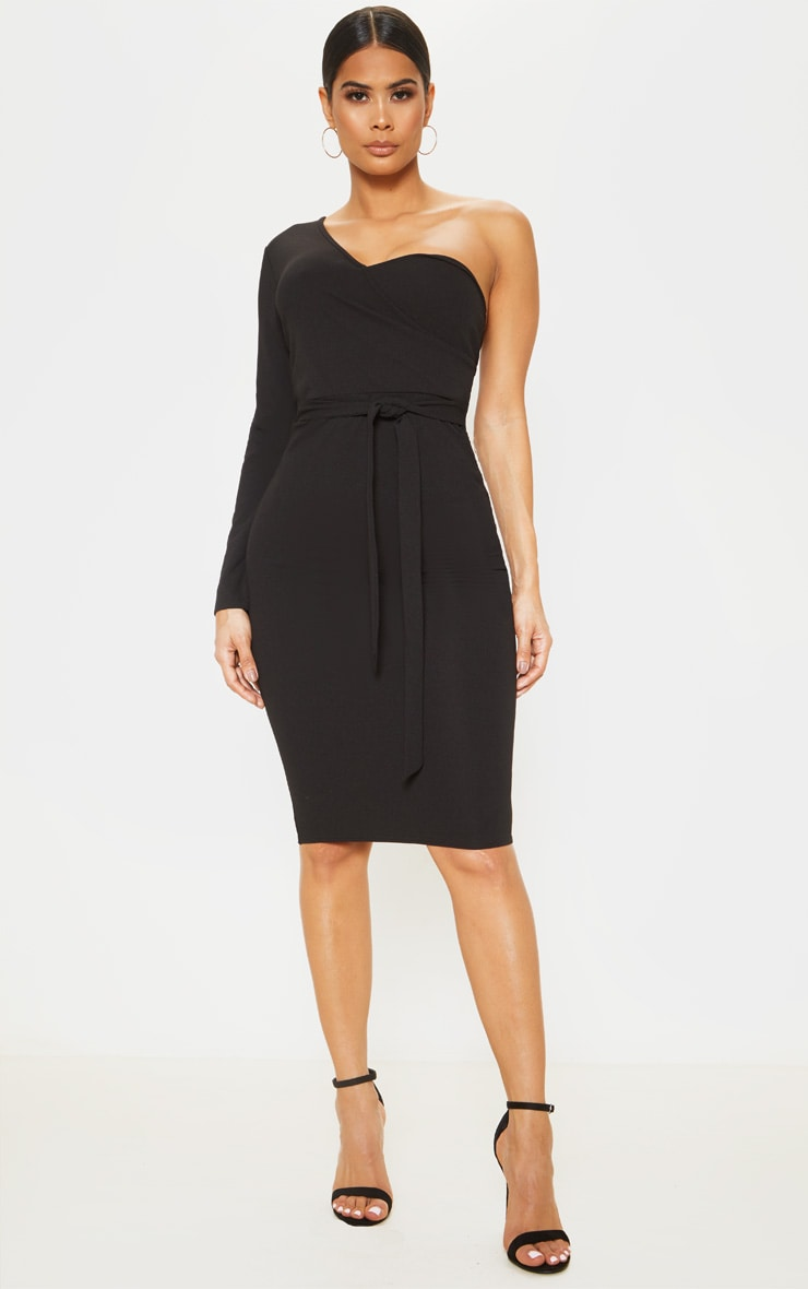Black One Shoulder Tie Waist Midi Dress 1