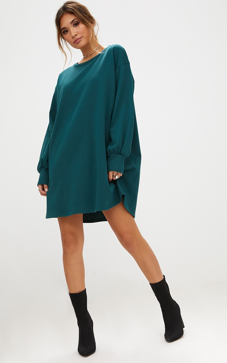 Forest Green Oversized Sweater Dress 1