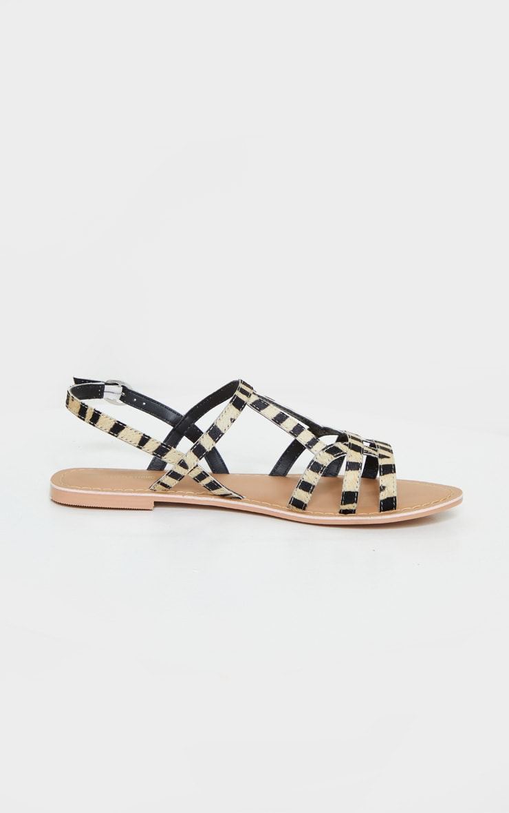 Zebra Leather Strappy Sandals 4