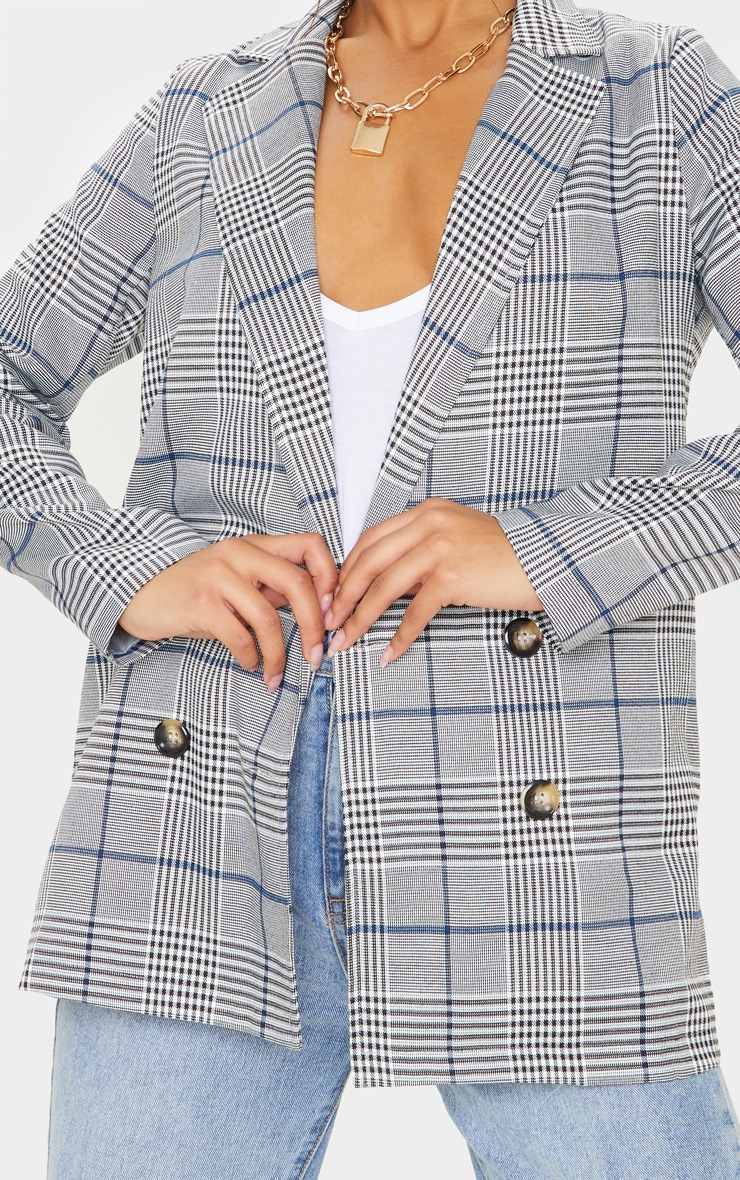 Grey Checked Button Woven Blazer   5