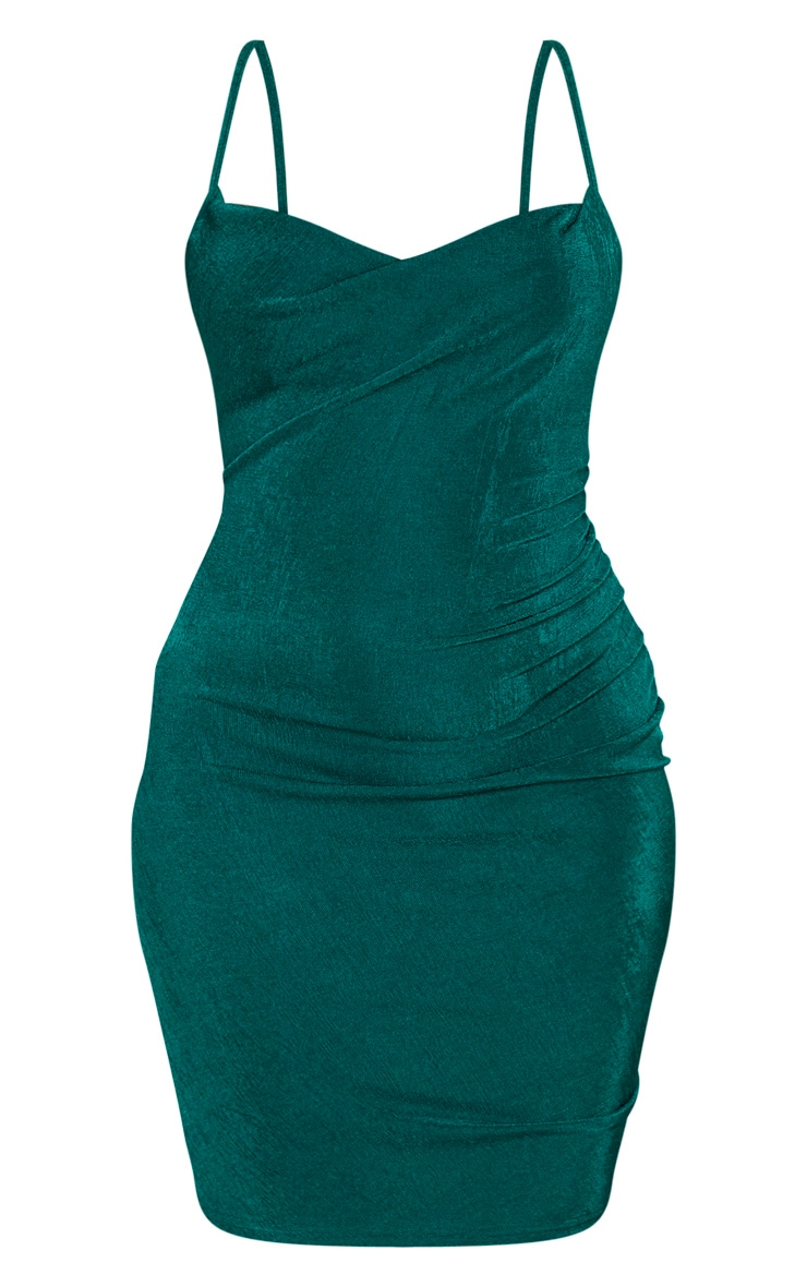 Emerald Green Textured Slinky Strappy Ruched Bodyon Dress 3