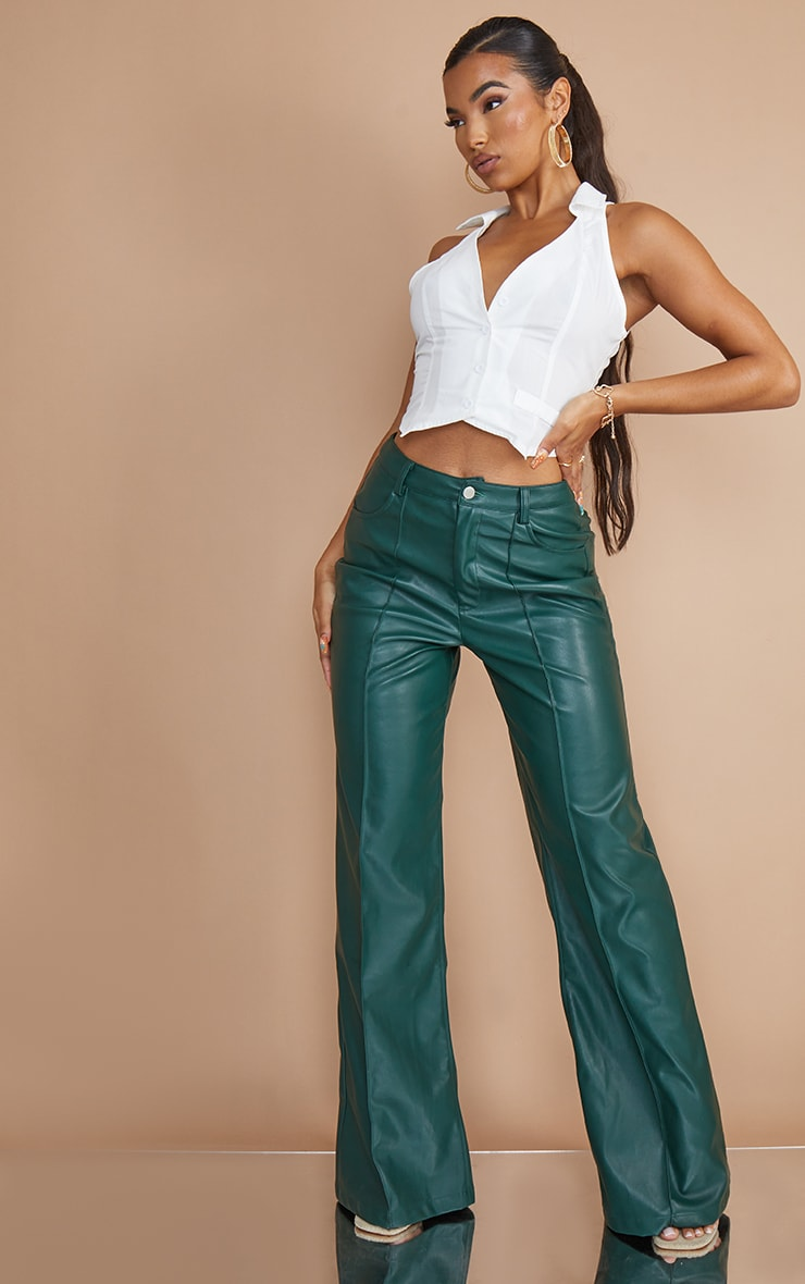 Bottle Green Faux Leather Seam Straight Leg Trousers image 1