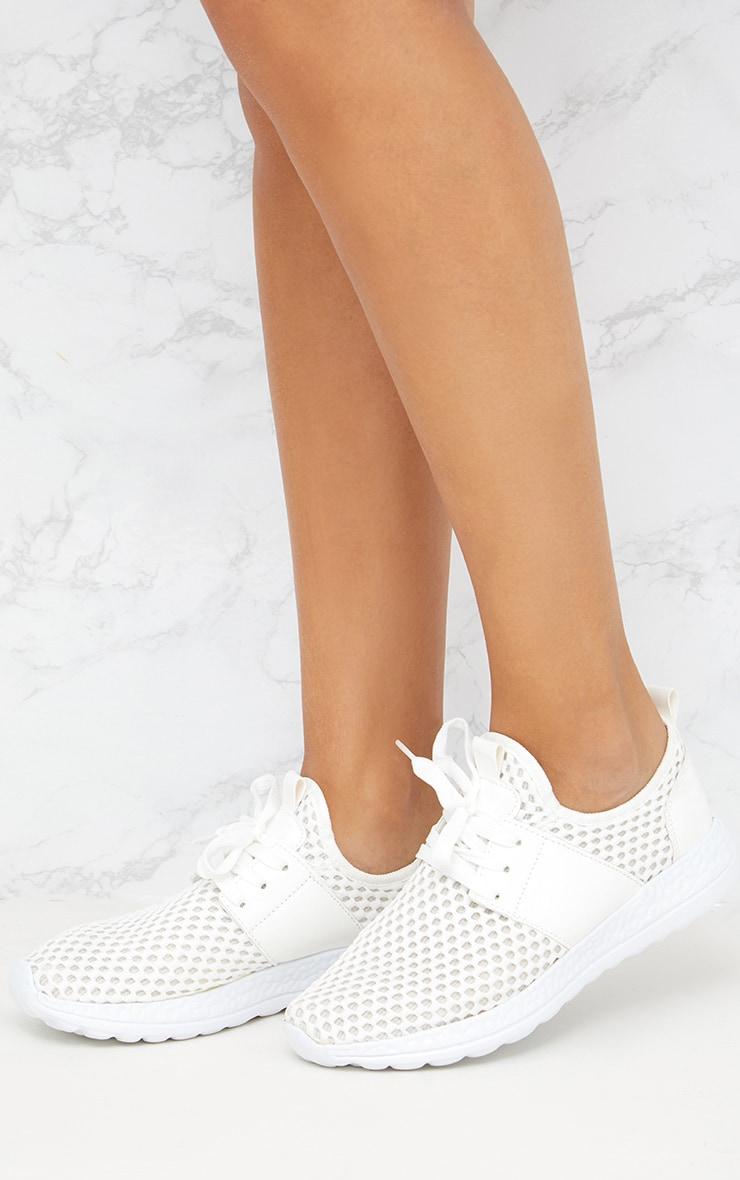 White Fishnet Trainers  1