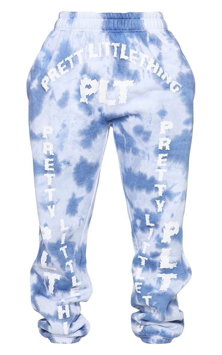 PRETTYLITTLETHING Shape Blue Tie Dye Slogan Print Joggers 5