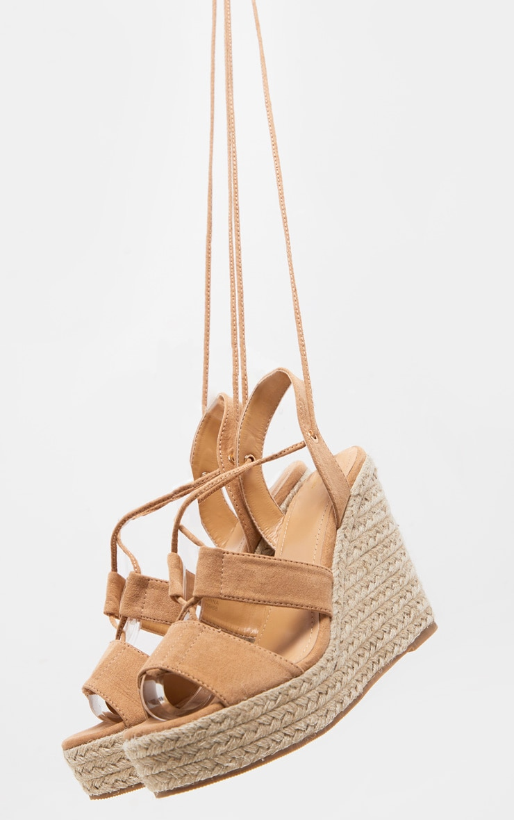 Tan Ghillie Lace Up Espadrille Wedge 3