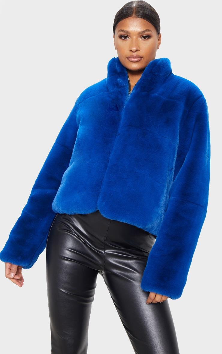 Cobalt Faux Fur Jacket 4