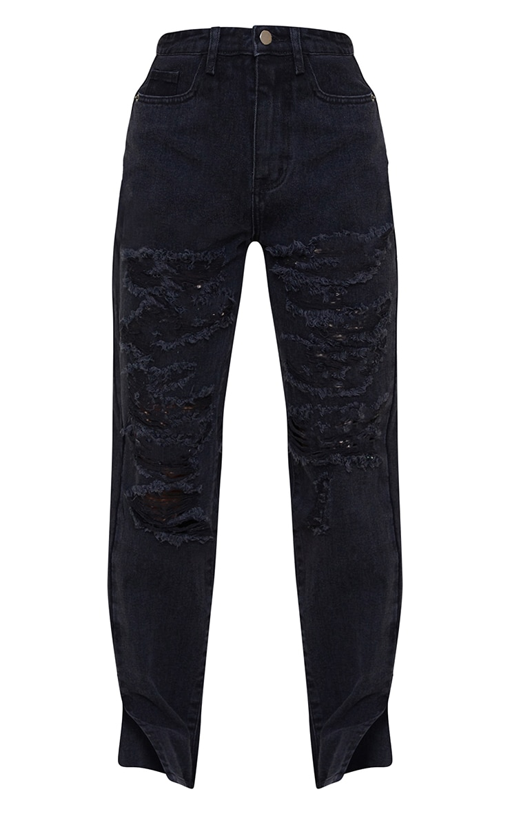 Petite Black Full Distressed Split Hem Denim Jeans 5