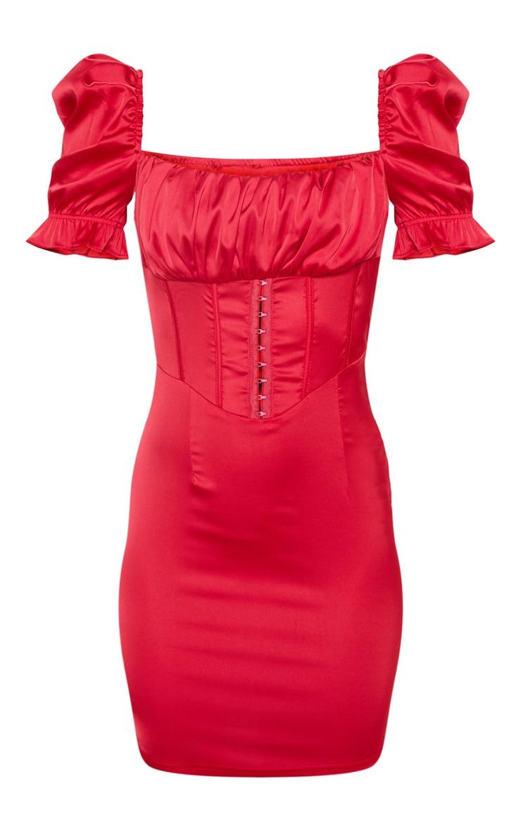 Scarlet Satin Puff Sleeve Hook & Eye Panelled Bodycon Dress 3