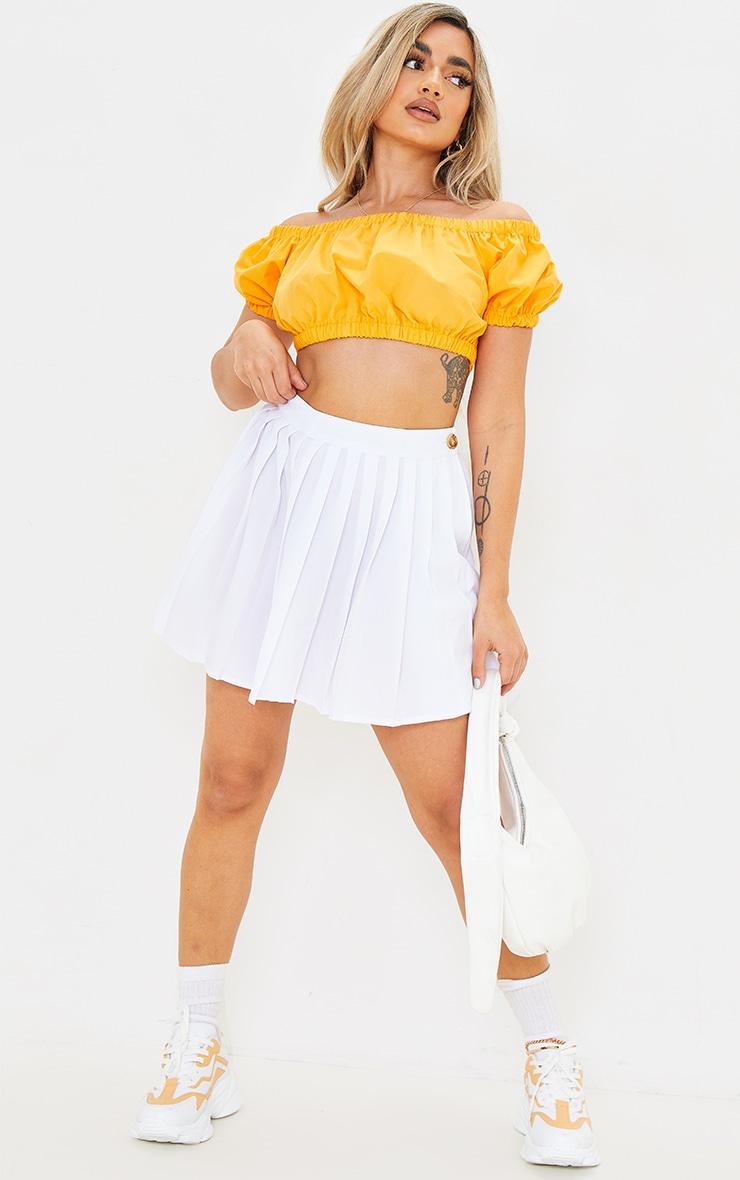 Petite Orange Lace Up Back Puff Sleeve Crop Top 3