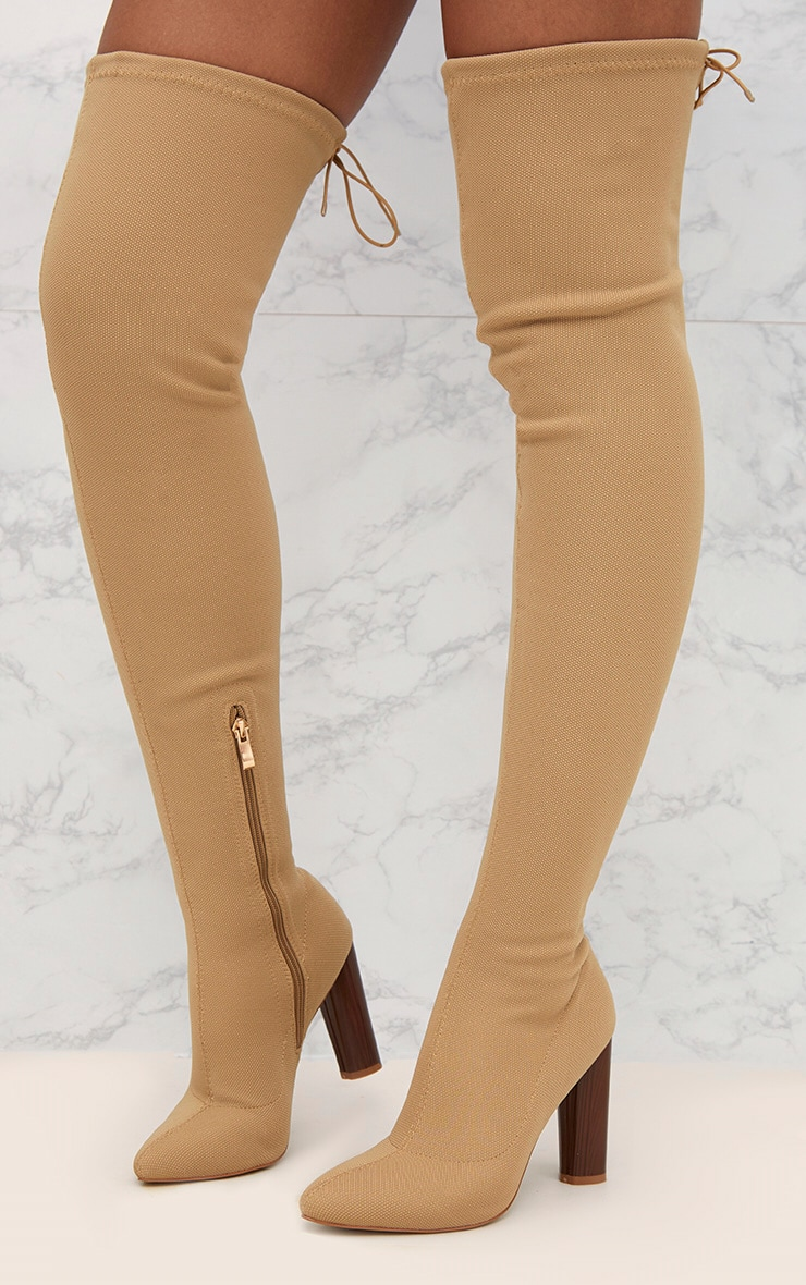 Nude Woven Thigh High Sock Heeled Boots  2