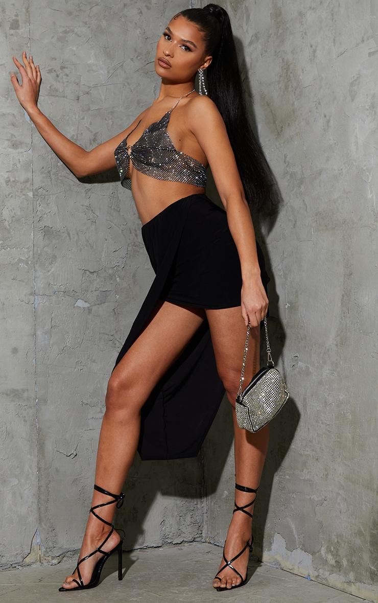 Black Asymmetric Slinky Wrap Over Midi Skirt 1