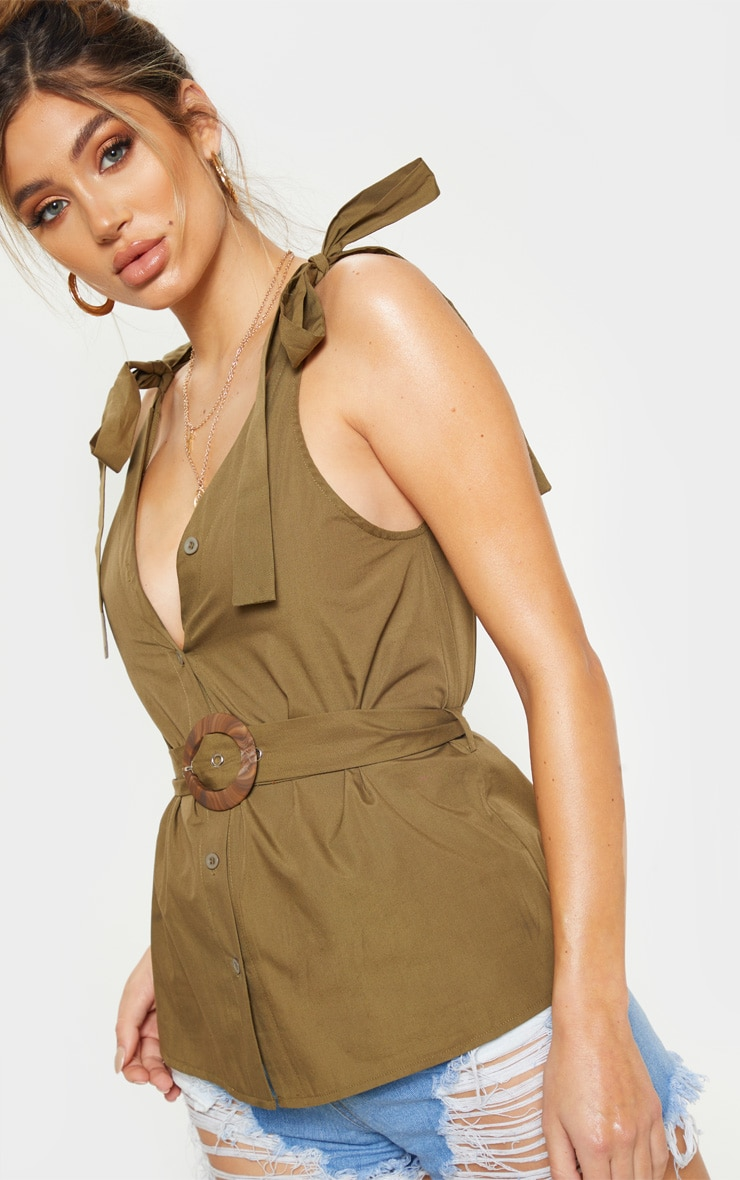 Khaki Sleeveless Belted Button Front Top 5