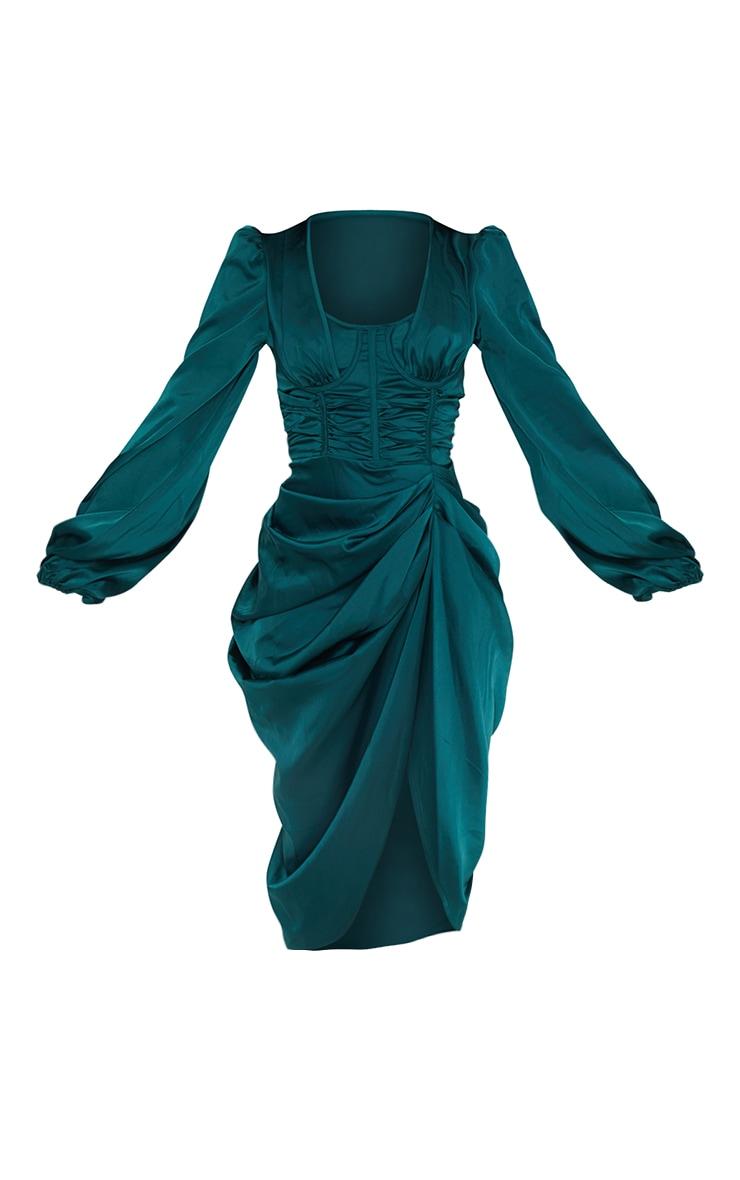Emerald Green Satin Cup Detail Draped Midi Dress 5