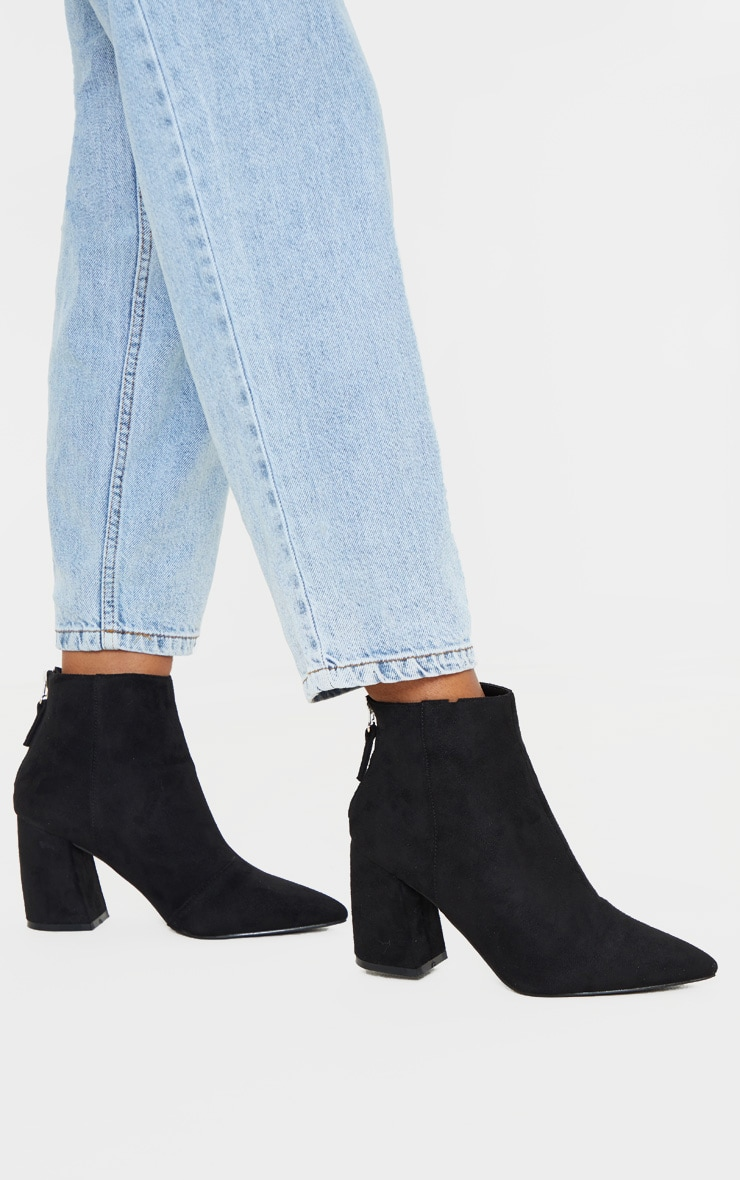 Black Curved Block Heel Ankle Boot 1