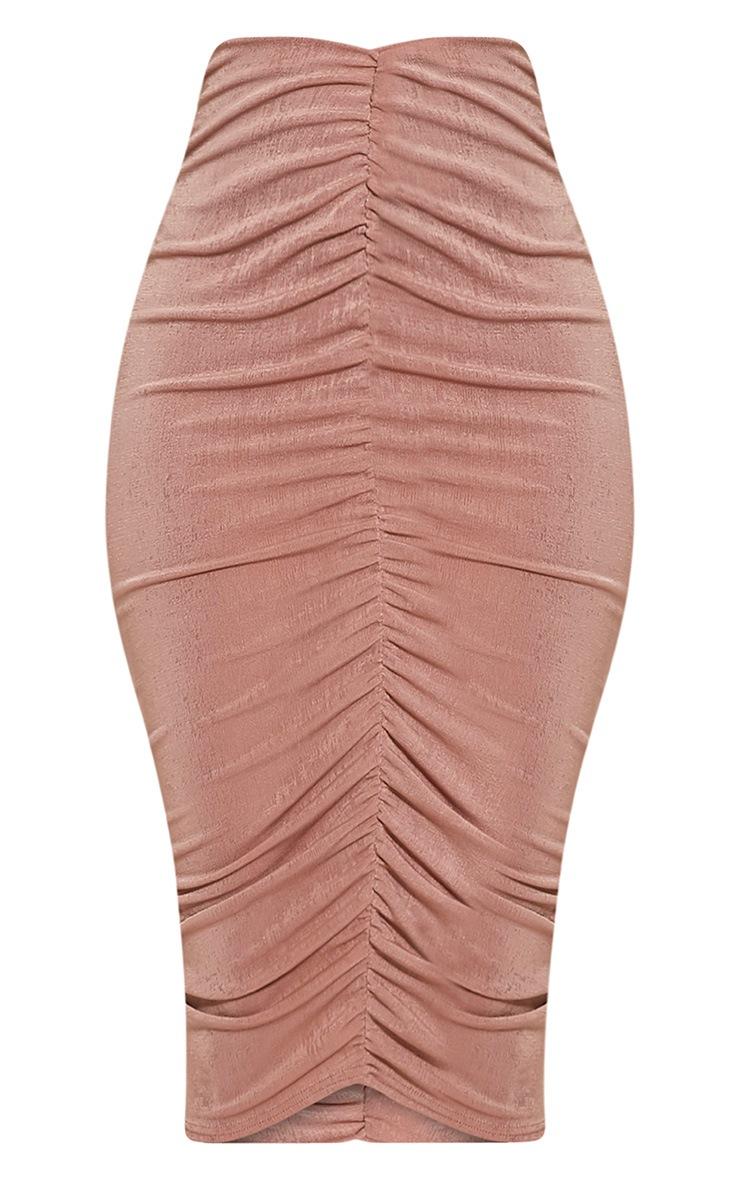 Remmie Blush Ruched Midi Skirt 3