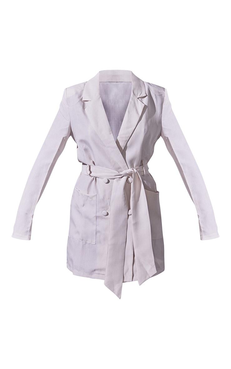 Nude Linen Long Sleeve Tie Waist Blazer Dress 5