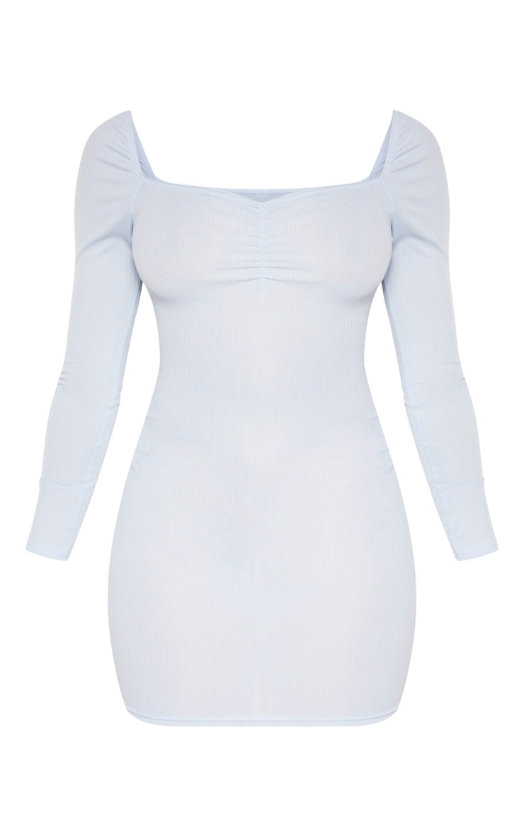 Baby Blue Rib Square Neck Long Sleeve Bodycon Dress 3