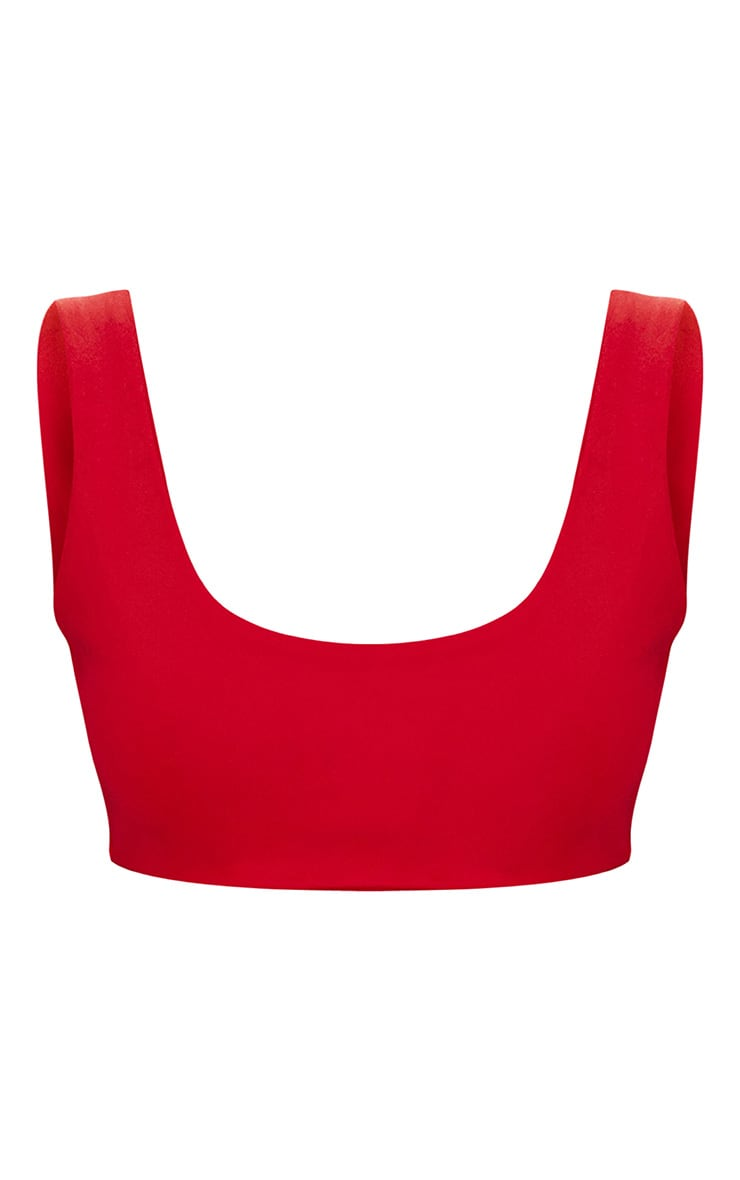 Red Mix & Match Square Neck Cropped Bikini Top  3