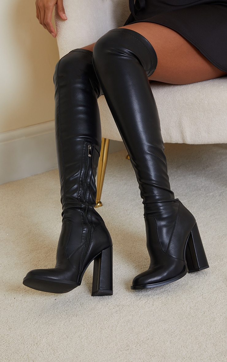 Black PU Edge High Heeled Over The Knee Boots 2