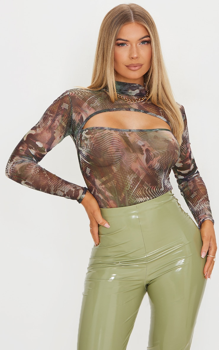 Green Abstract Printed Mesh Cut Out Long Sleeve Bodysuit 1