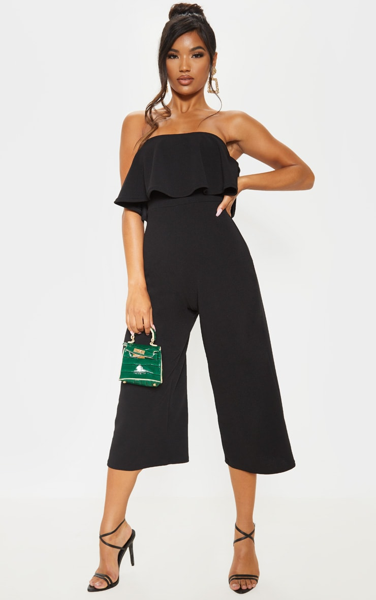Black Bardot Double Layer Culotte Jumpsuit 4