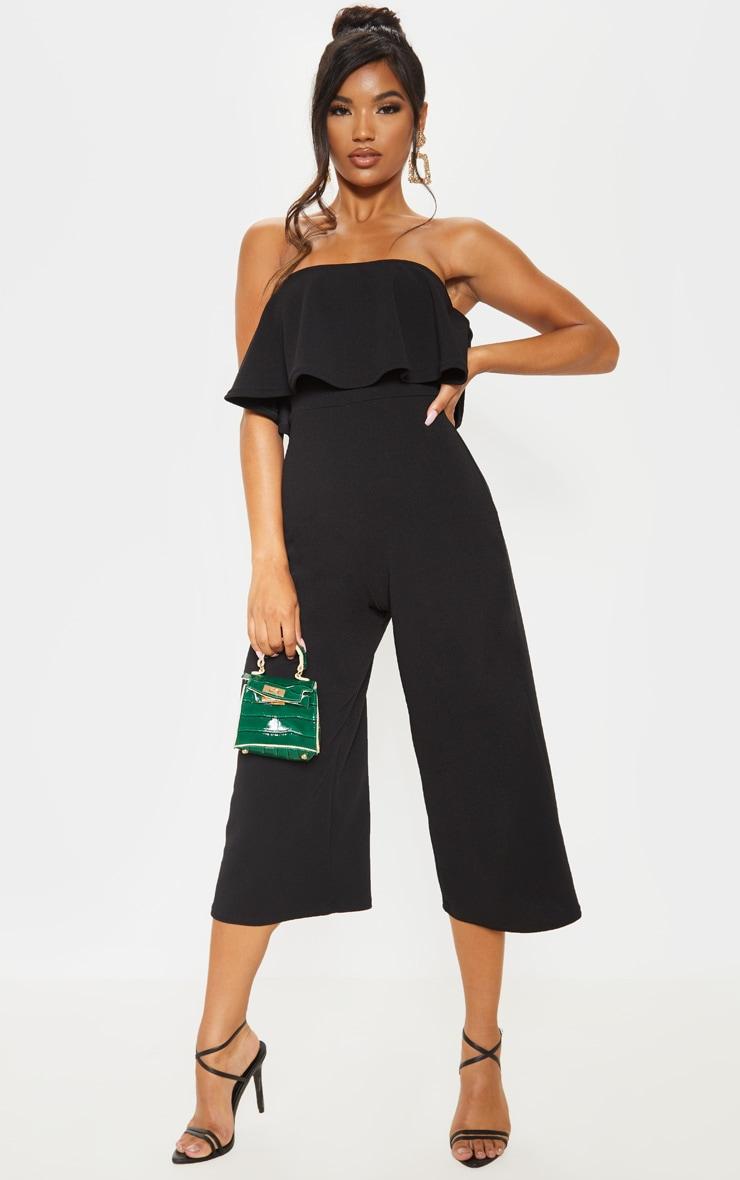 Combinaison jupe-culotte bardot double épaisseur noire 4