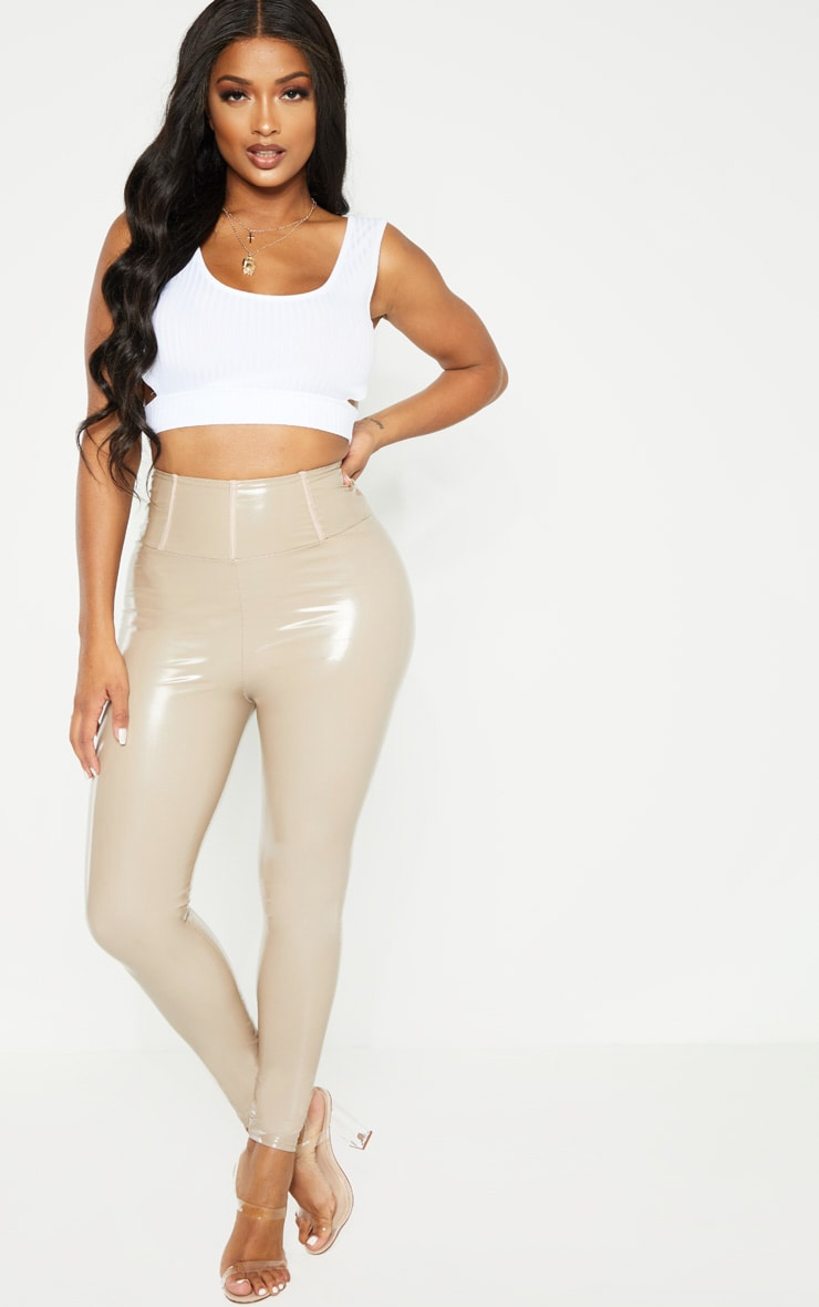 Shape Taupe High Waist Vinyl Leggings 1