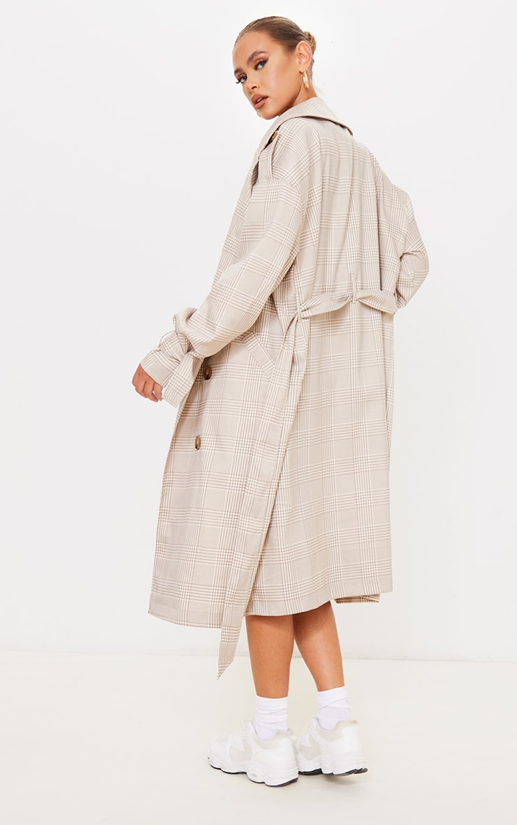 Stone Checked Woven Drop Shoulder Belted Trench 2