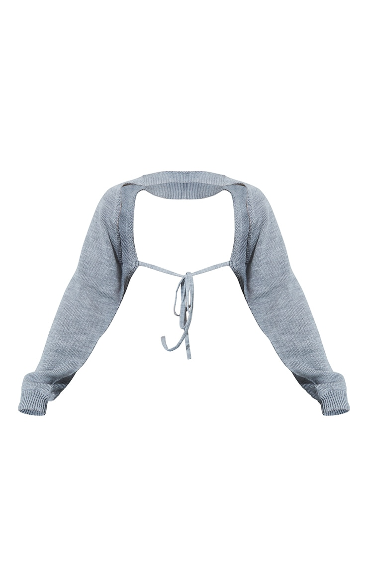 Grey Tie Back Knitted Sleeves Crop Sweater 5