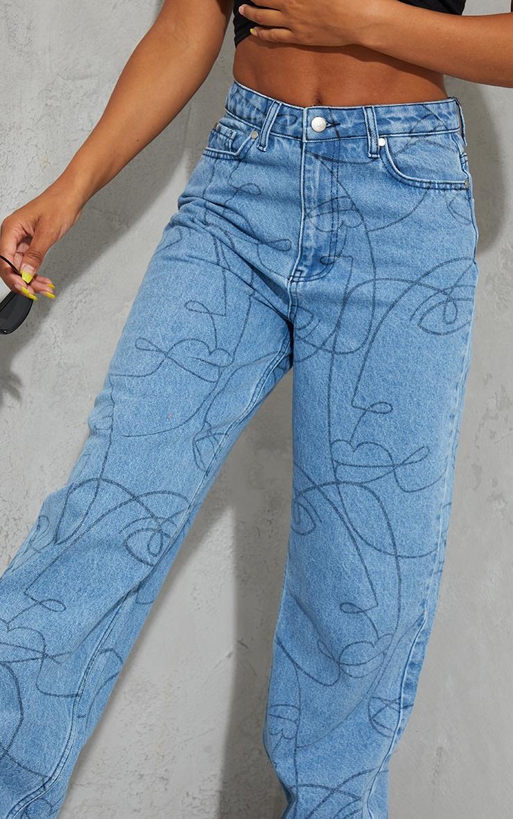 Light Blue Wash Face Print Wide Leg Jeans 4