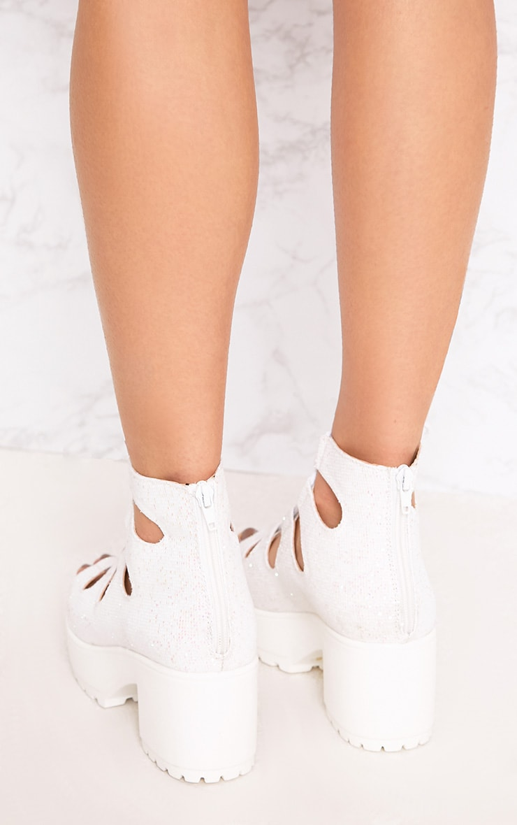 Caprice White Metallic Lace Up Sandals 4